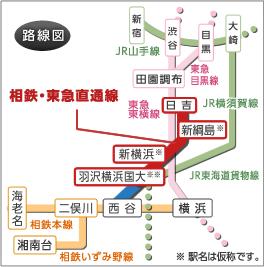 相鉄東急直通路線図